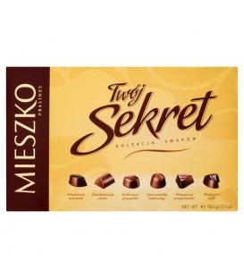 Mieszko Twój Sekret Praliny w czekoladzie mlecznej i deserowej z nadzieniami 162 g
