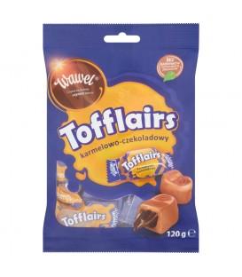 Wawel Tofflairs karmelowo-czekoladowy Pomadki mleczne niekrystaliczne 120 g