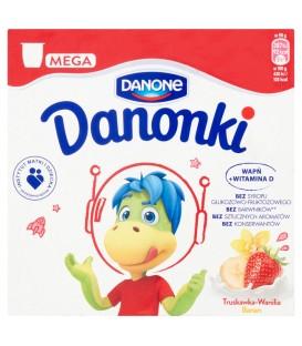 Danone Danonki Mega truskawka-wanilia banan Twarożek 360 g (4 sztuki)