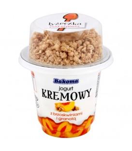 Bakoma jogurt kremowy z brzoskwinia i granolą230g