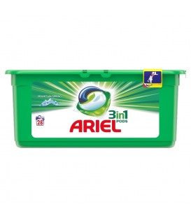 Ariel kapsułki d/prania mountain spring d/biał.28s